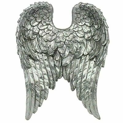 £16.90 • Buy Silver Vintage Style Wall Art Hanging Angel Wings Decoration LP46446