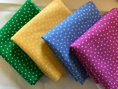 AU18 • Buy 4 Fat Quarters Tiny Stars Pink Green Blue Yellow 100% Cotton By Andover