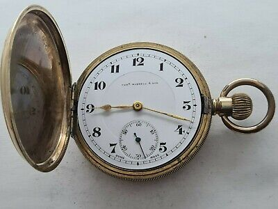 £175 • Buy Antique 1905  Thomas Russell And Son  Hunter Gold Plated  Pocket Watch VGC Rare