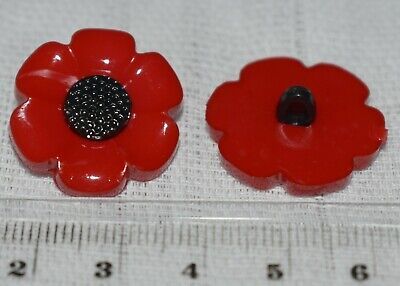 £2.50 • Buy Poppy Style Flower Novelty Childrens Craft Shanks Buttons Pack Of 10 (21mm)