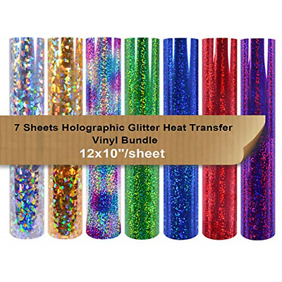 £13.59 • Buy Holographic Heat Transfer Vinyl Pack Bundle 7 Sheets 12x10  Iron On Vinyl For