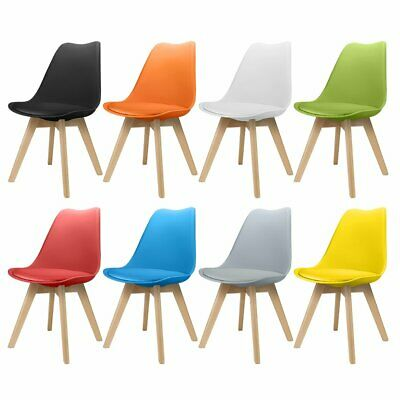 £27.99 • Buy Dining Chairs 4 2 Kitchen Table Lounge Tulip Room Plastic Wood Retro Padded Seat