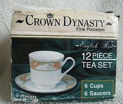 £15 • Buy Crown Dynasty Vintage 12 Piece Tea Set (6 Cups, 6 Saucers) Brand New In Box**