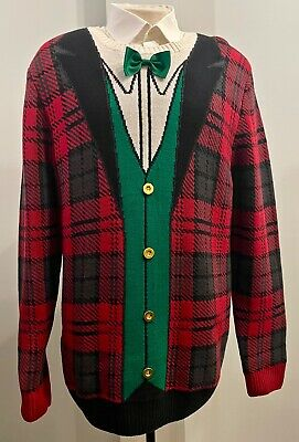 $16.99 • Buy Ugly Christmas Sweater Company Men's, Green Vest & Bow Tie, Size XX-Large EUC