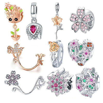 $15 • Buy 925 Sterling Silver Crystal Rose Flower Charms Magnolia Flower Cerise Beads Fit