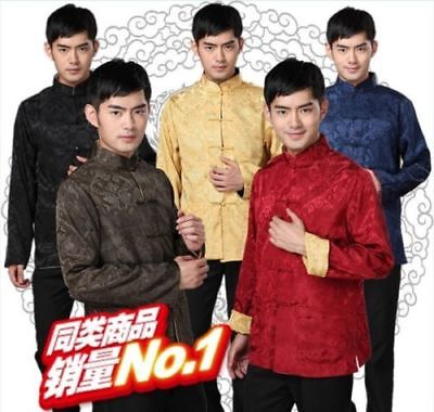 $27.99 • Buy Chinese Tang Suit Mens Double-side Clothing Kung Fu Party Jacket Embroidery Coat