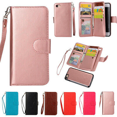 AU17.88 • Buy For IPhone 13 Pro Max 11 XR 6S 7 8+ Removable Magnetic Leather Wallet Case Cover
