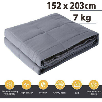 AU58.99 • Buy Weighted Blanket 152 X 203cm Full Queen Size Reduce Pressure 7kg Glass Beads