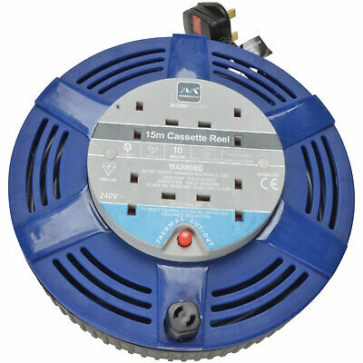 £26.39 • Buy Masterplug LCT1510/4R Cassette Cable Reel 240V 10A 4-Socket Thermal CutOut 15m