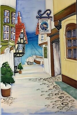 £21.99 • Buy 8x12 Inch OLD TOWN STREET Ceramic Wall Art Plaque / Art Ceramic Tile Picture