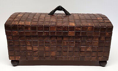 $99.99 • Buy Maitland Smith Brown Tiled Dome Top Chest Handshake Handle - Dresser Jewelry Box