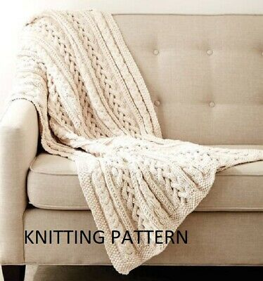 £1.99 • Buy (611) Blanket Throw COPY Knitting Pattern, Beautiful Cable Design In Chunky Yarn