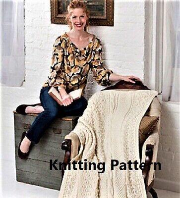 £1.99 • Buy (141) Blanket Throw COPY Knitting Pattern, Cable And Bobble Design In Aran Yarn