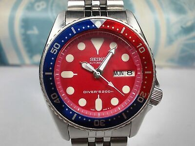 $ CDN255 • Buy Seiko Day/date Divers Skx013 200m Midsize Watch 7s26-0030 Red/pepsi (sn 600259)