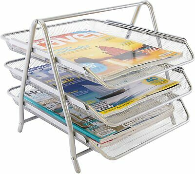 £10.99 • Buy Osco Silver Wire Mesh Desktop 3 Tier Letter Tray Sliding Drawers With Handles