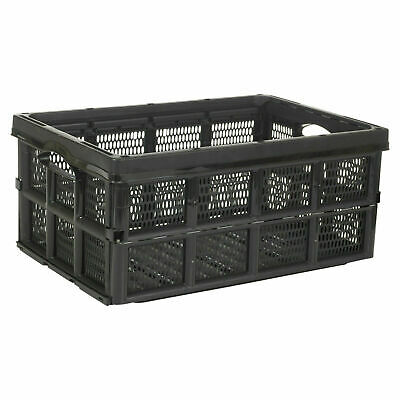 £14.99 • Buy Strong Folding Collapsible Plastic Storage Crates Boxes Stackable Basket 32L New