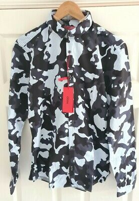 $68.74 • Buy HUGO BOSS Camouflage Extra Slim Fit Shirt, Blue, Size M, Brand New With Tags