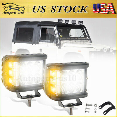 $39.88 • Buy 2x 4  Roof Top LED Lights White/Amber Strobe Off-Road Auxiliary Driving Light
