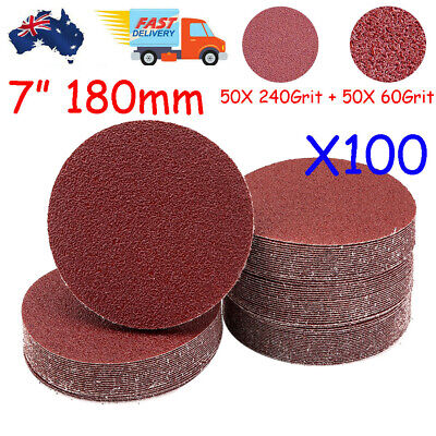 AU43.19 • Buy 100pcs 180mm / 7  Plaster Drywall Sanding Discs Pads Hook Loop 60 240 Mix Grit