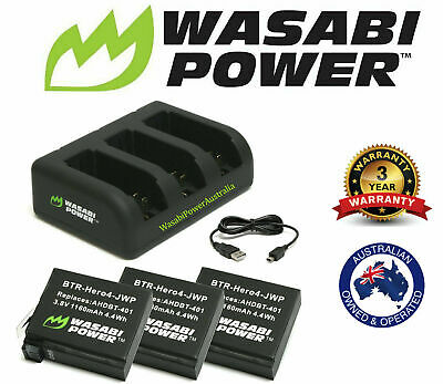 AU21.95 • Buy Wasabi Power Battery Or Dual/Triple Slot Charger Kit For GoPro HERO3, 3+, HERO4