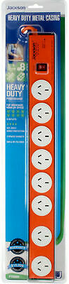 AU61.45 • Buy Jackson 8 Outlet Powerboard With Heavy Duty Metal Housing Surge Protection RFI
