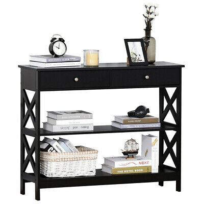 £89.80 • Buy Slim Hallway Console Table Hall Entryway Living Room Furniture 2 Drawers Shelves
