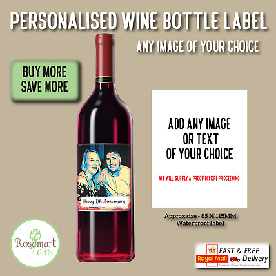 £2.49 • Buy Personalised Photo Wine Bottle Label Sticker Gin Vodka Printed Label Any Design