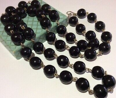 £16.50 • Buy Vintage Jewellery Lovely Individually Wired French Jet Round Glass Bead Necklace