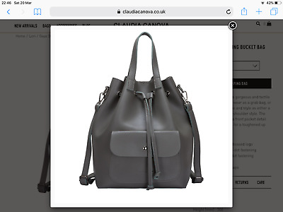 £25 • Buy Claudia Canova Green Large Drawstring Rucksack Bucket Bag Faux Leather Used Once