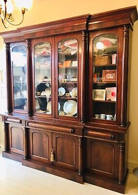 AU5400 • Buy Stunning Antique Solid Mahogany Bookcase, Pristine Condition, Keys Included