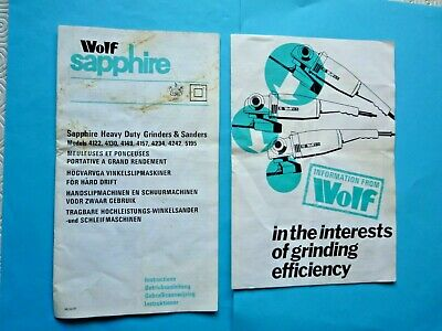 Vintage Wolf Sapphire Heavy Duty Grinders & Sanders Instructions & Info Sheet • 6£