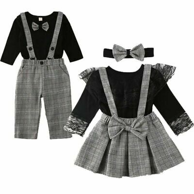 £18.72 • Buy Brother Sister Outfit Set Family Matching Clothes Toddler Romper Overall Suspend