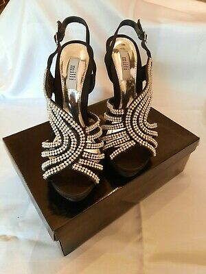 £18.50 • Buy Ladies Sandals Size 6 Black With Diamante Detail. Stiletto Heel. Used Once Only