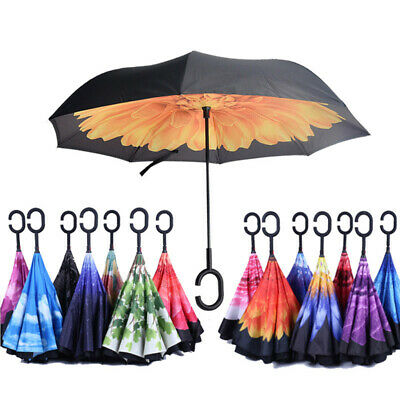 AU31.99 • Buy Windproof Upside Down Reverse Umbrella C-Handle Double Layer Inside-Out Inverted