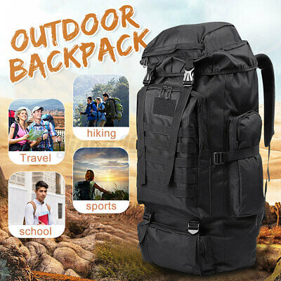 AU28.34 • Buy 80L Military Tactical Backpack Bag Outdoor Hiking Trekking Camping Rucksack AU