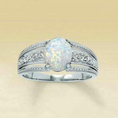 925 Filled Stamped Silver Shiny Opal Style Ring Size P 1/2.limited Number ! • 7.99£