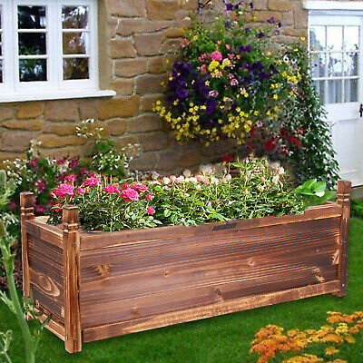 £44.92 • Buy Large 90CM Long Deep Garden Planter Trough Wood Raised Bed Pot Self Contained