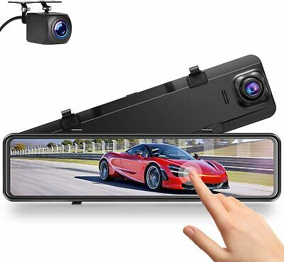 AU254.95 • Buy Campark 2.5K Mirror Dash Cam For Cars 12  GPS Voice Control Front And Rear Dual