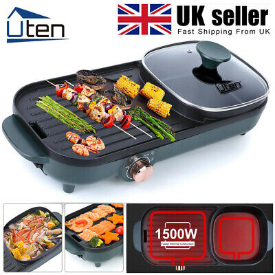 £36.99 • Buy UTEN Electric Grill Pan Non-stick 1500W Hot Pot BBQ Cooker Indoor / Out Portable