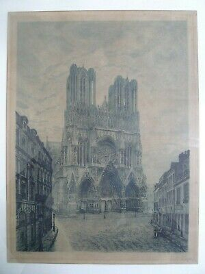 £18 • Buy Raoul Varin RARE Signed Engraving Of Notre Dame Cathedral 30 X 40 Cm (unframed)