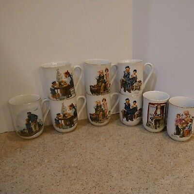 $ CDN26.13 • Buy Norman Rockwell Museum Collections Coffee Tea Mugs Vintage 1982/86 Lot Of 9