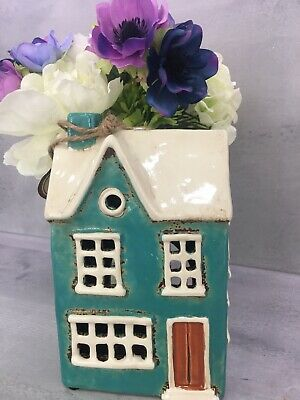 £14.90 • Buy Retro Village Pottery Ceramic Teal Country House Tea Light  Candle Holder 310761