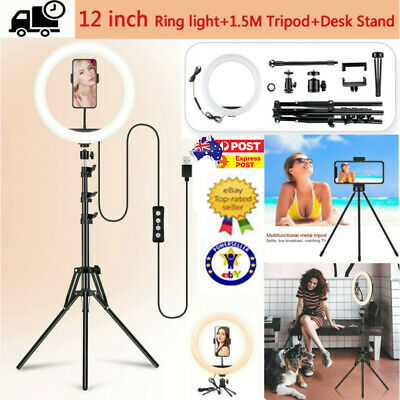 AU24.32 • Buy 12  LED Ring Light Dimmable Lighting Kit Phone Selfie Tripod Makeup Live Lamp AU