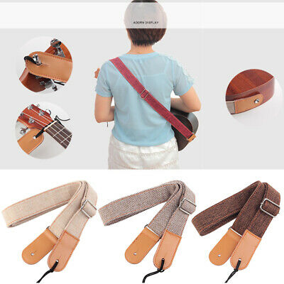 AU14.93 • Buy Belt Soft Shoulder Cotton And Linen Solid Adjustable Ukulele Strap