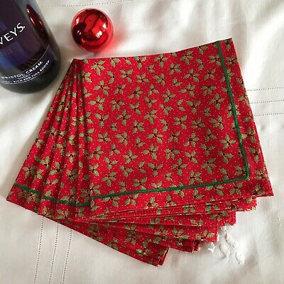 £15 • Buy Set Of Six Cotton Fabric Christmas Table Napkins  Ribbon Trim Small Red Holly