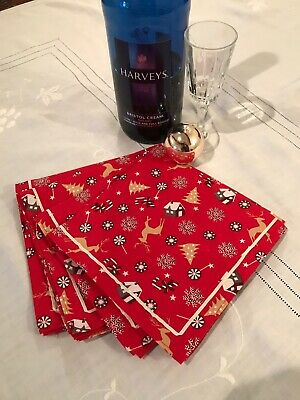 £10 • Buy Set Of Four Cotton Fabric Christmas Table Napkins With Ribbon Trim Red Candy