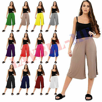 £7.59 • Buy Ladies Women's Culottes Elasticated Stretch Wide Leg 3/4th Length Plus Size 8-26