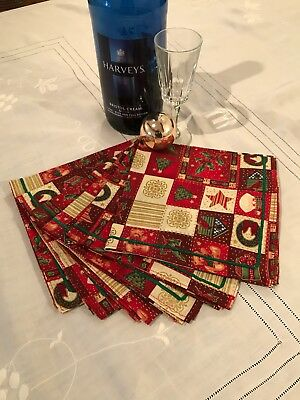£15 • Buy Set Of Six Cotton Fabric Christmas Table Napkins With Ribbon Trim Red Party Sq