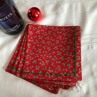 £10 • Buy Set Of Four Cotton Fabric Christmas Table Napkins  Ribbon Trim Red Small Holly