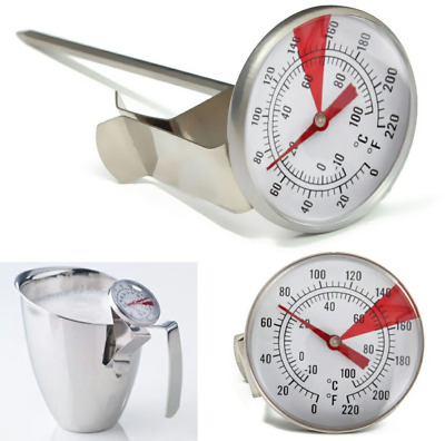 $10.30 • Buy Milk Frothing Thermometer Coffee Maker Temperature Jug Pan Clip On Steel Pod UK.